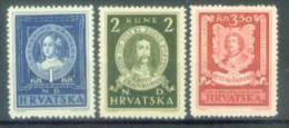 HR 1943-103-5 FAMOUS PERSONS, CROATIA HRVATSKA, 3v, MNH - Croatie
