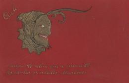 Carte Postale Gaufffrée Representant Le Diable Emporte Celui Quia Inventé Les Cartes Postales Illustrées - Cartes Postales