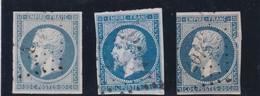 AC1  - NAPOLEON N°14 OBL / 3 NUANCES - 1853-1860 Napoléon III