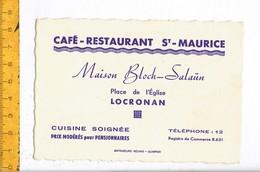 KL 10140 - CAFE RESTAURANT ST MAURICE - MAISON BLOCH SALAUN - LOCRONAN - Cartoncini Da Visita