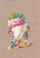 TRES JOLI DECOUPIS  DE 1883   FLEURS ENFANT - Anges