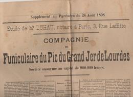 Lourdes (62 Hautes Pyrénées) Présentation De La ,COMPAGNIE DU FUNICULAIRE DU PIC DU GRAND JER 1898 (PPP8406A) - Shareholdings