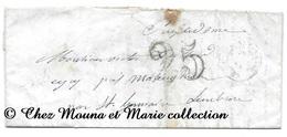 PRES MAREUGHEOL PAR ST GERMAIN LEMBRON 1852 - TEILLARD - TAXE 25 - PUY DE DOME - LETTRE MISSIVE LAC - 1849-1876: Période Classique