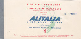 ALITALIA /  BIGLIETTO PASSEGGERI _ CATANIA-PALERMO _ 15 DICEMBRE 1963 - Carte D'imbarco Di Aerei