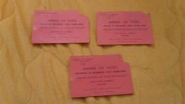 LOT DE 3 BILLETS D'ENTREES  UNE PERSONNE. ARBRE DE NOEL DE 1965 - 66 - 67. THEATRE NATIONAL DU PALAIS DE CHAILLOT. BALCO - Tickets - Vouchers