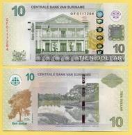 Suriname 10 Dollars P-163b 2012 UNC - Surinam