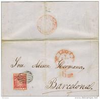 28335. Carta Entera LORCA (Murcia) 1854, Fechador Baeza Y Porteo 6 Maravedies - Briefe U. Dokumente