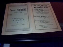 Publicitee Ancienne  Horaires Autocars Berenger  A La  Ciotat  Annee 1936 Pubs Agglomerres Gredur- Pastorino   Tailleur - Other