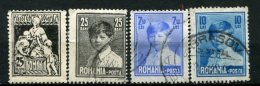 Yv. N° 354 à 357  Filigrane (o)   Social, Michel Ier   Cote  1,6 Euro  BE   2 Scans - 1918-1948 Ferdinand, Carol II. & Mihai I.