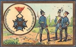 Chromo Chocolat Guerin-Boutron Décorations Françaises Et étrangères Ordre De L'aigle Noir Allemagne Frédéric Ier 1701 - Guerin Boutron