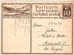 SCHWEIZ SUISSE 1931: CP 10c Braun  Bild-PK ADELBODEN Mit O SPLÜGEN 22.II.31 (links Perforiert) - Interi Postali