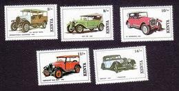 Kenya, Scott #573-577, Mint Hinged, Vintage Cars, Issued 1992 - Kenya (1963-...)