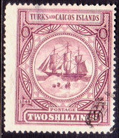 TURKS AND CAICOS ISLANDS 1900 SG #108 2sh Used CV £80 Small Thin On Back - Turks And Caicos