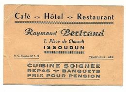 CAFE HOTEL RESTAURANT RAYMOND BERTRAND ISSOUDUN VOIR SCAN DU VERSO - Cartoncini Da Visita