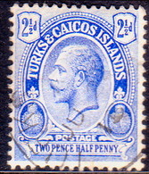 TURKS AND CAICOS ISLANDS 1913 SG #132 2½d Used Wmk Mult.Crown CA - Turks And Caicos