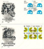 UN New York FDC Complete Set Block Of-4 With Cachet Peace-Keeping Operations 1980 - New York – UN Headquarters