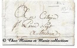VERNIOLLE TOULOUSE AN 8 - COTIYEN PARIS NEGOCIANT - LETTRE MISSIVE LAC - Marcophilie (Lettres)