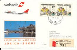 Liechtenstein Swissair First Flight Zurich - Seoul 30-3-1986 - Liechtenstein