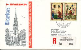 Liechtenstein Swissair First Flight Zurich - Boston 8-5-1971 - Liechtenstein
