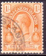 TURKS AND CAICOS ISLANDS 1921 SG #161 1sh Used Wmk Mult. Script CA CV £48 - Turks And Caicos