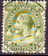 TURKS AND CAICOS ISLANDS 1922 SG #170 5d Used CV £22 - Turks And Caicos