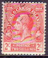 TURKS AND CAICOS ISLANDS 1922 SG #174 2sh Used Wmk Mult.Crown CA CV £110 - Turks And Caicos