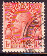TURKS AND CAICOS ISLANDS 1928 SG #178 1½d Used POSTAGE & REVENUE - Turks And Caicos