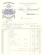 FACTURE 1925 DISTILLERIE JULES BREGEAUD BRIOUDE Hte LOIRE ZÉZETTE ROYALE APÉRITIF ANISÉ ANIS GENTIANE BYRRH - Food