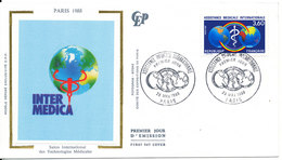 France FDC 28-5-1988 Assistance Medicale Internationale France With Silk Cachet - FDC