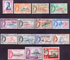 TURKS AND CAICOS ISLANDS 1957-60 SG #237-50+253 Compl.set Used CV £29 - Turks And Caicos