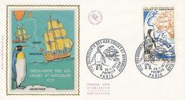 France FDC 29-1-1972 Bicentenary Discovery Crozet Islands & Kerguelen With Silk Cachet - 1970-1979