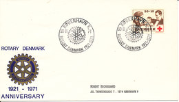 Denmark Cover With RED CROSS Stamp ROTARY DENMARK 50th. Anniversary 30-11-1971 - Rotary, Lions Club
