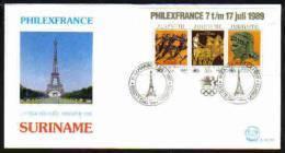 Surinam / Suriname 1989 FDC 131xx Philexfrance Eiffel Olympic - Suriname