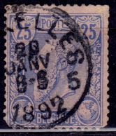 Belgium, 1885, King Leopold, 25c, Sc#53, Used - 1884-1891 Leopold II