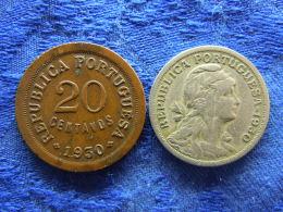 CAPE VERDE 20 CENTAVOS 1930 Corroded KM3, 50 CENTAVOS  1930 KM4 - Cape Verde