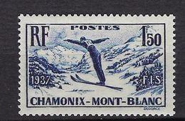 """FR YT 334 """" Chamonix Mont-Blanc """" 1937 Neuf** - France"""