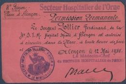 Le Mans, 4° Section D'Infirmiers Militaires.S.I.M.Permission Permanente.Alençon 1940.Secteur Hospitalier De L'Orne. - Documents Historiques