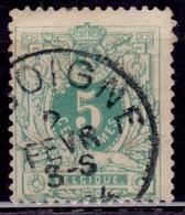 Belgium, 1884, Lying Lion, 5c, Sc#51, Used - 1869-1888 Lying Lion
