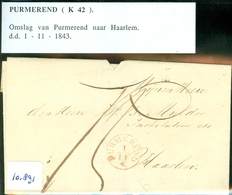 BRIEFOMSLAG Uit 1843 Gelopen Van PURMEREND Naar HAARLEM  (16.891) - Paesi Bassi