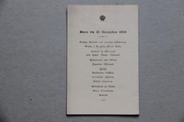 Menu Du 21 Décembre 1903 - Menus