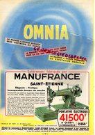42- SAINT ETIENNE- PUBLICITE MANUFRANCE MACHINE A COUDRE OMNIA-PORTATIVE ELECTRIQUE- 1959 - Petits Métiers