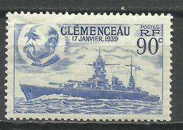 FRANCE , FRENCH , 90 Cts , Mise Sur Cale Du Cuirassé Clemenceau , 1939 , N° YT  425 ( ** ) - Nuovi