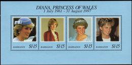 Barbados 1997 Diana Princess Of Wales Souvenir Sheet Unmounted Mint. - Barbados (1966-...)