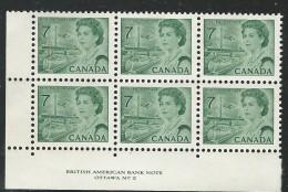 CANADA 1971 SCOTT/UNITRADE 543** PLATE 2 BLOCK OF SIX LL - Plattennummern & Inschriften