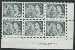 CANADA 1971 SCOTT/UNITRADE 544** PLATE 4 BLOCK OF 6 LR - Plattennummern & Inschriften