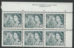 CANADA 1971 SCOTT/UNITRADE 544** PLATE 4 BLOCK OF 6 UR - Plattennummern & Inschriften