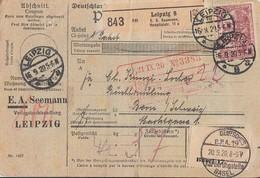 DR Paketkarte Mif Minr.87II,89II,3x 115 Leipzig 16.9.20 Gel. In Schweiz Perfins EAS - Deutschland