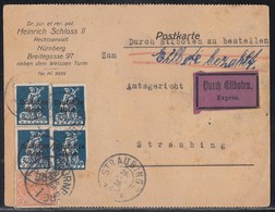 DR Karte Eilbote Mif Minr.4x 123,141 Nürnberg 28.12.20 - Deutschland