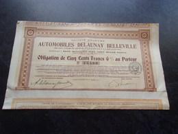 AUTOMOBILES DELAUNAY BELLEVILLE (1917) - Actions & Titres