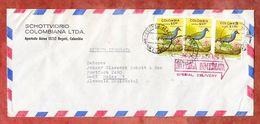 Luftpost, Expres, MeF Martinique-Sultanshuhn, Bogota Nach Mainz 1977 (50112) - Colombia